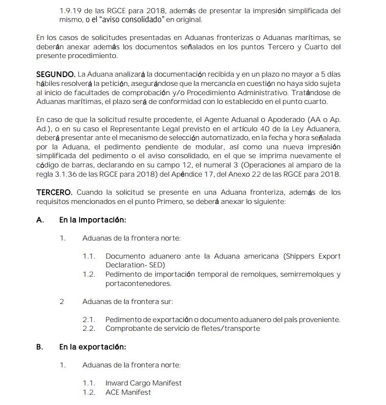 Procedimiento Conforme A La Regla 3 De Las Reglas Generales De Comercio Exterior Para 2018