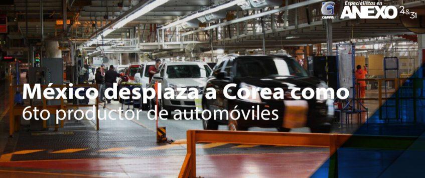 México desplaza a Corea como 6to productor de automóviles
