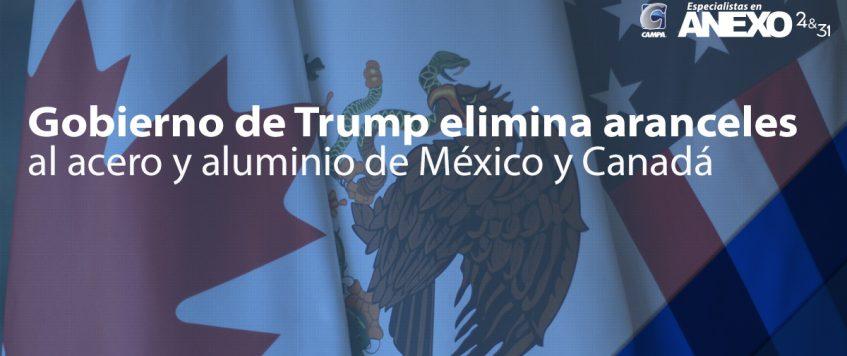 Gobierno de Trump elimina aranceles al acero y aluminio de México y Canadá