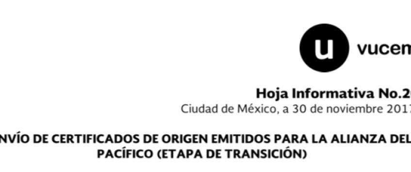 Envío de Certificados de Origen Emitidos para la Alianza del Pacífico