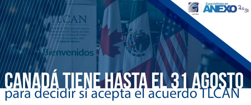 Canadá tiene hasta el 31 de agosto para decidir si acepta el acuerdo entre el gobierno Estadounidense y el Mexicano.