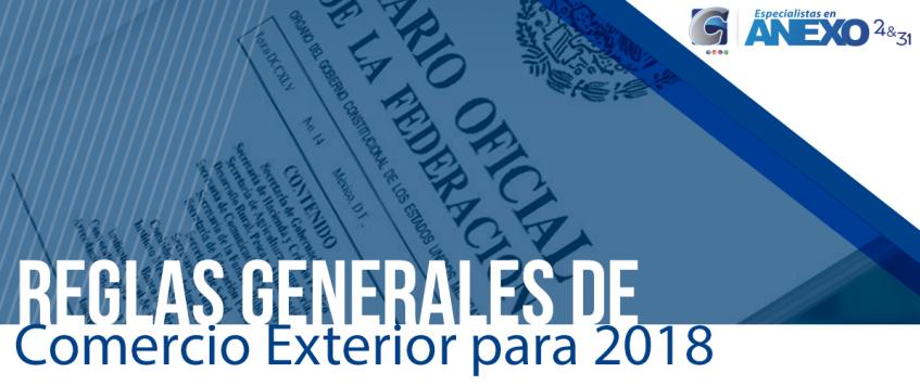 Reglas Generales de Comercio Exterior para 2018