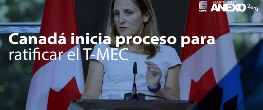 Canadá inicia proceso para ratificar el T-MEC